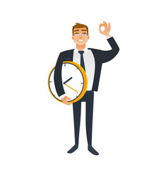 Businessman and time concept with office worker in vector