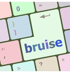 button with bruise word on computer keyboard keys vector image