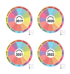 Calendar 2019 2020 2021 and 2022 calendar vector