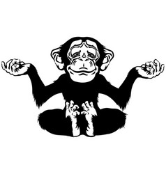 Cartoon chimp in meditation black and white vector
