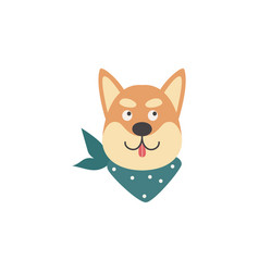Cartoon shiba inu head with tongue out isolated on vector