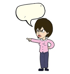 Cartoon woman accusing with speech bubble vector