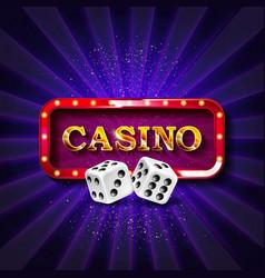 Casino dice banner signboard vector