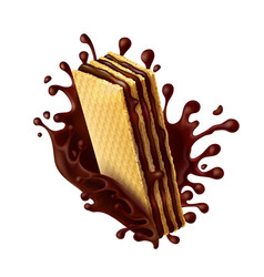 Chocolate wafer with melted chocolate splash vector