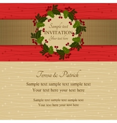 Christmas invitation red and beige vector image