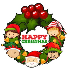 Christmas theme with mistletoes and people vector