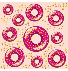 color seamless pattern with donuts vector image