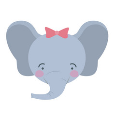Colorful caricature cute face of female elephant vector