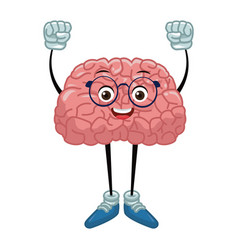 Cute brain cartoon with hands up vector