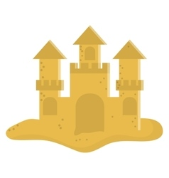 Cute sandcastle icon vector