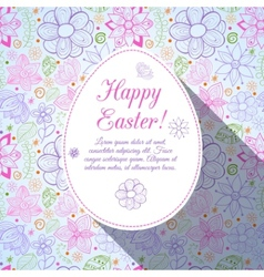 Easter flowers egg background Doodles ornament for vector