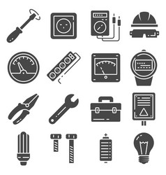 electricity icons set on gray background vector image
