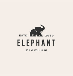 elephant hipster vintage logo icon vector image