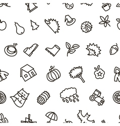 Fall season balck and white cute seamless pattern vector