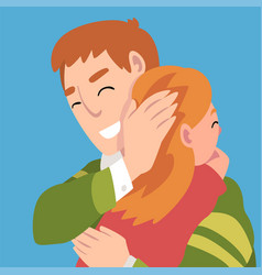 Father hugs daughter holds a hand on her head vector