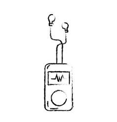 Figure mp3 player with rhythm cardiac and vector