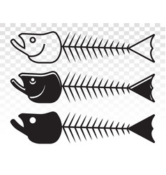Fish bone or fishbone skeleton flat icon for apps vector