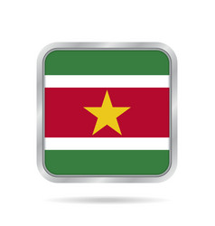 flag of suriname metallic gray square button vector image
