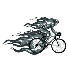 Flaming trail bicycle race silhouette vector