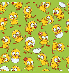 flat cute chick hatching seamless pattern vector image
