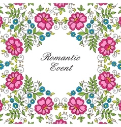 flower design lace frame colorful invitation vector image