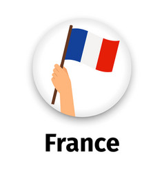 France flag in hand round icon vector