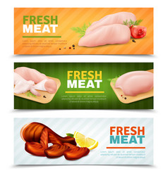Fresh chicken meat horizontal banners vector