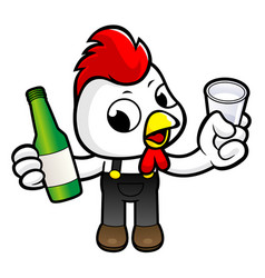 funny chicken character drinks the best distilled vector image
