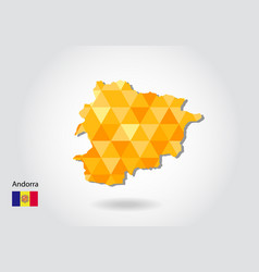 geometric polygonal style map of andorra low poly vector image