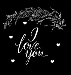 Greeting card composition with i love you vector