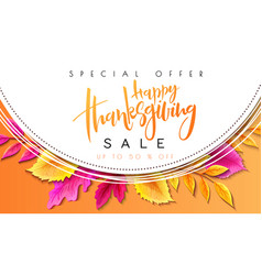 greeting thanksgiving promoution banner vector image