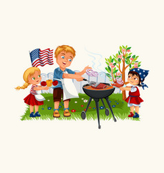 happy father cooking meat and onion with daughter vector image