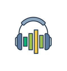 headphones with colored equalizer concept vector image
