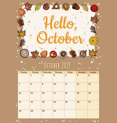 Hello october cute cozy hygge 2019 month calendar vector