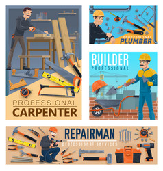 house repair and constructions workers tools vector image