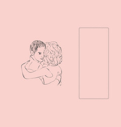 hugging couple with text place rightward vector image