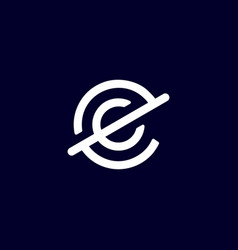 initial letter e c logo template with circle line vector image