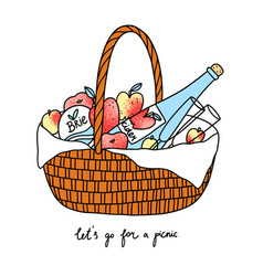 lets go for a picnic basket with fruits cheese vector image