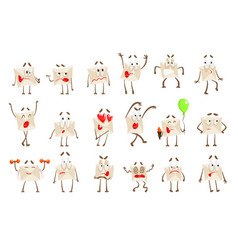 Letter paper envelop cartoon character emotion vector