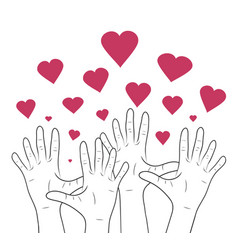 Linear human hands with hearts vector
