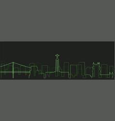 lisbon futurist technology light trace skyline vector image