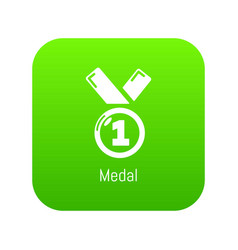 medal icon green vector image