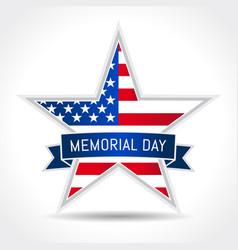 Memorial day usa star ribbon vector