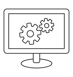 Monitor settings icon outline style vector image