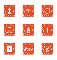 Obsequies icons set grunge style vector
