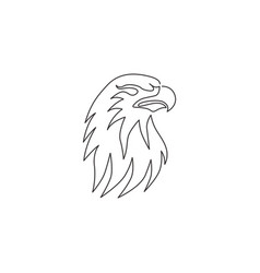 one single line drawing strong eagle head bird vector image