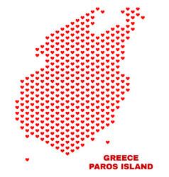 paros island map - mosaic of valentine hearts vector image