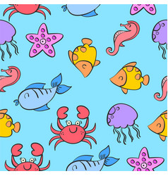 Pattern of fish colorful style vector