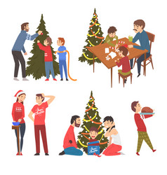 People preparing and celebrating winter holidays vector