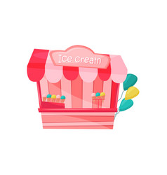 Pink ice-cream stall decorated with colorful vector